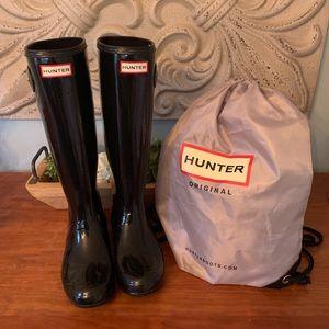 Gloss Black Hunter Refined Boots, Sz 8